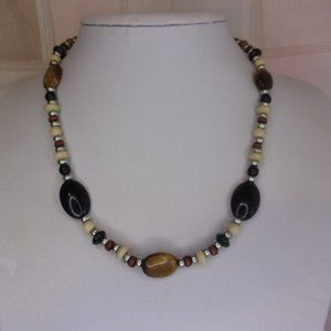 """Chaps Brown Black Silver Bead Necklace 18"""" L"""